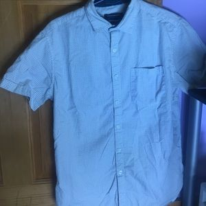 White which blue patterns button up men's shirt